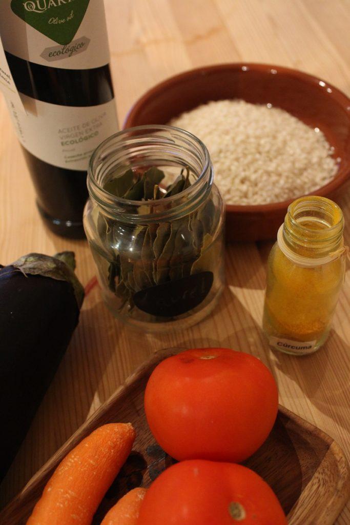ingredientes receta arroz con verduras