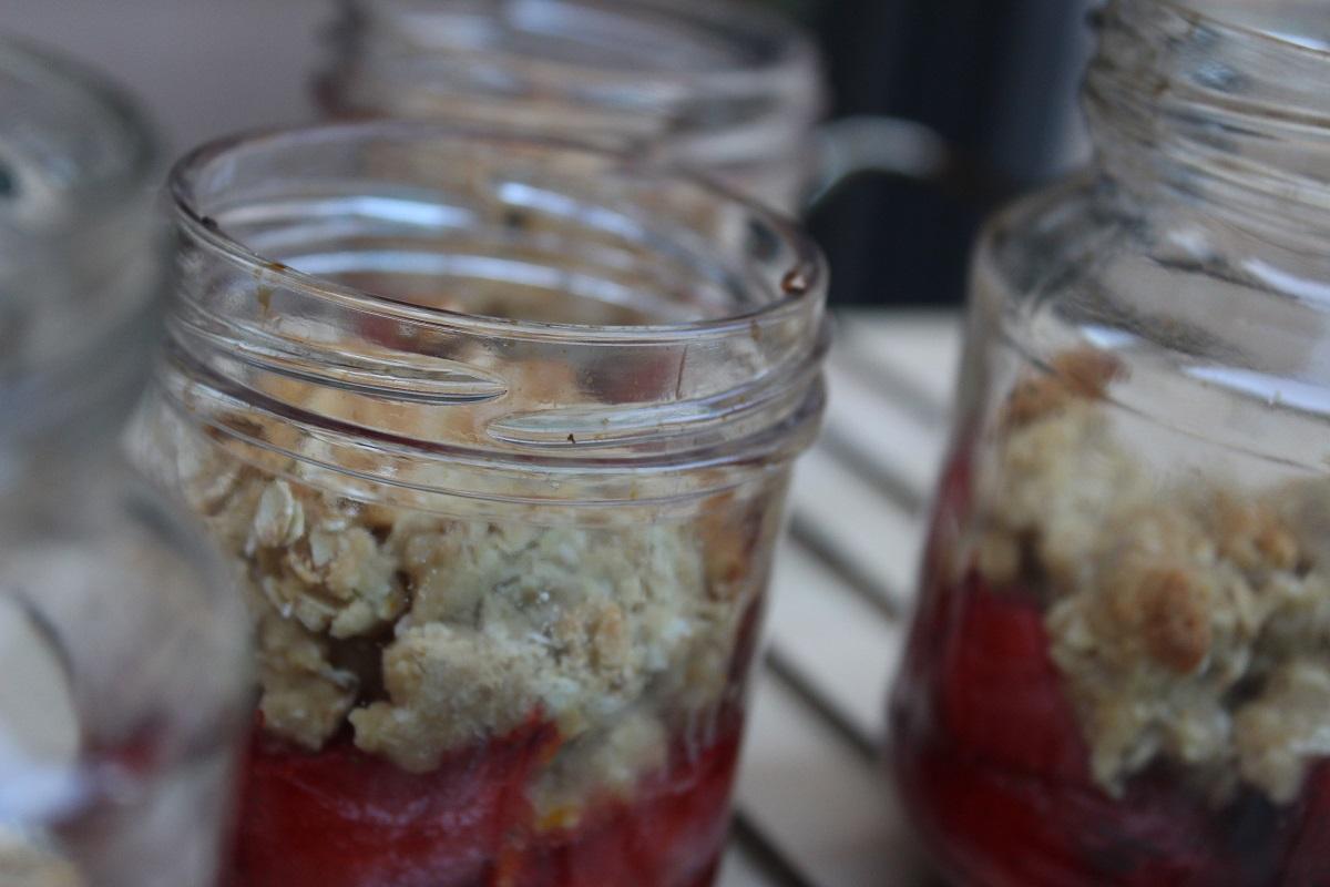 crumble de fresas con miel